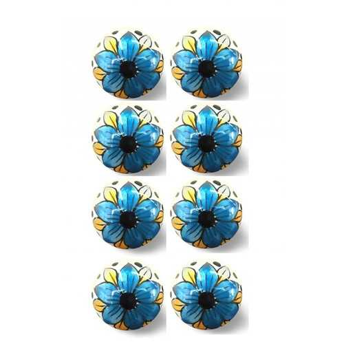 "1.5"" X 1.5"" X 1.5"" Hues Of Blue, Black And Yellow 8 Pack Knob-It"