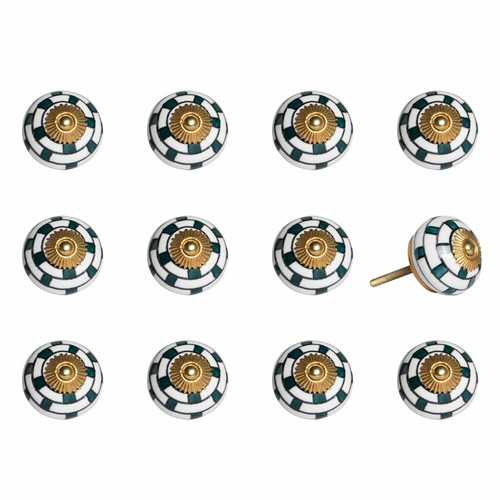 "1.5"" x 1.5"" x 1.5"" White, Teal and Gold - Knobs 12-Pack"