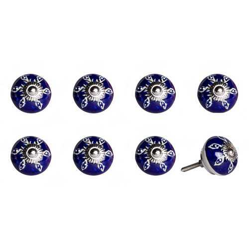 "1.5"" X 1.5"" X 1.5"" Hues Of White, Navy And Silver 8 Pack Knob-It"