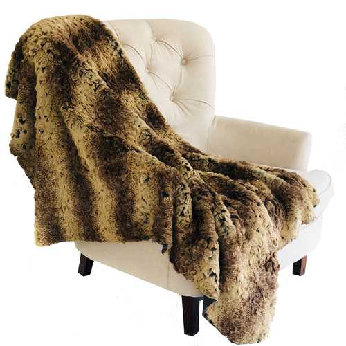 Beige and Brown Chinchilla Faux Fur Luxury Throw 102in x 116in