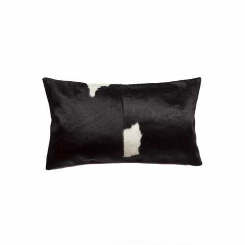 "12"" x 20"" x 5"" Black & White Torino Kobe Cowhide - Pillow"
