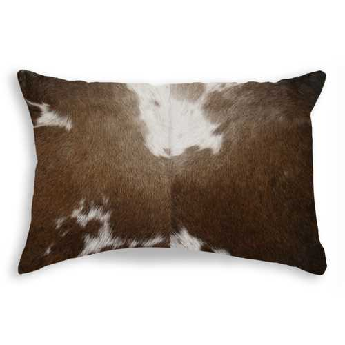 "12"" x 20"" x 5"" Chocolate And White Torino Kobe Cowhide - Pillow"