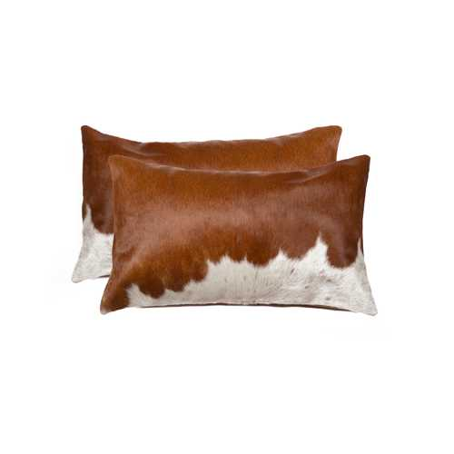 "12"" x 20"" x 5"" Brown And White, Cowhide - Pillow 2-Pack"