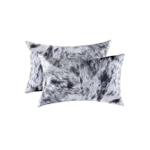 "12"" x 20"" x 5"" Salt And Pepper, Black And White, Cowhide - Pillow 2-Pack"