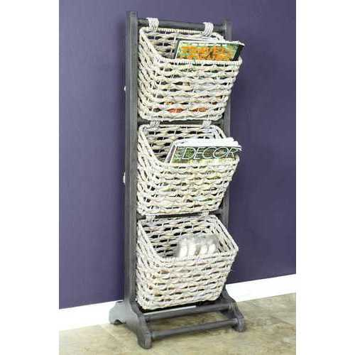 """42.25"""" Grey Wood, MDF, and Water Hyacinth Magazine Rack with 3 Baskets"""