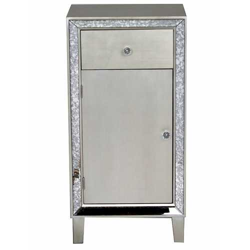 """17'.7"""" X 13"""" X 35'.8"""" Brown MDF, Wood, Mirrored Glass Accent Cabinet with a Drawer and Door"""