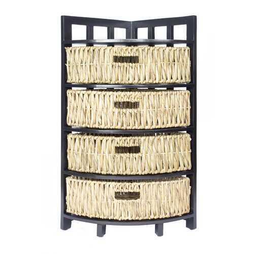 "15.5"" X 15.5"" X 34.25"" Gray Wood MDF Water Hyacinth Storage Cabinet with Baskets"