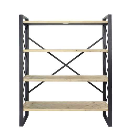 "39.75"" Natural Metal, Wood, and MDF Bookcase with 4 Shelves"
