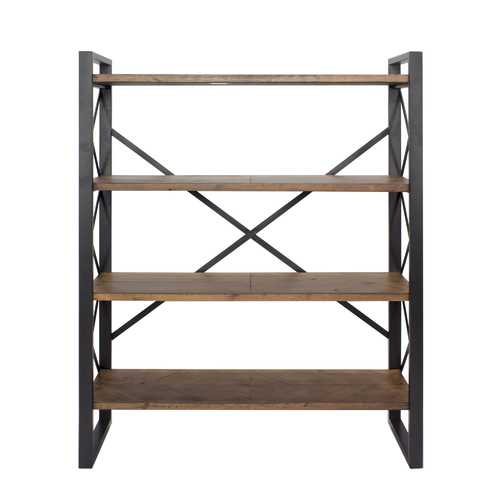 "39.75"" Black Metal, Wood, and MDF Bookcase with 4 Shelves"