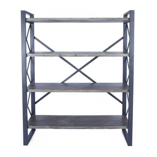 "39.75"" Grey Metal, Wood, and MDF Bookcase with 4 Shelves"