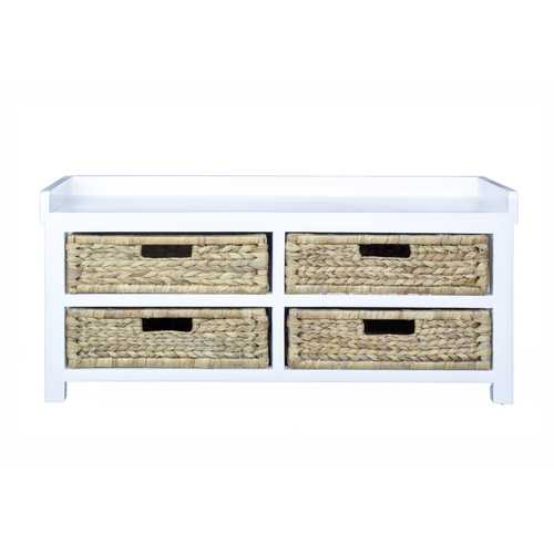"""39.75"""" White MDF and Water Hyacinth Storage Bench with 4 Baskets"""