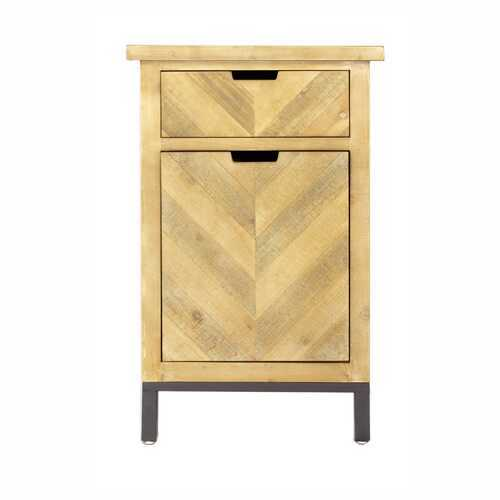 """20"""" X 15"""" X 31.5"""" Natural Wood in Iron MDF Cabinet with a Drawer and a Door"""