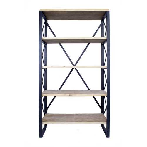 "32.75"" Natural and Brown Metal, Wood, and MDF Bookcase with 5 Shelves"