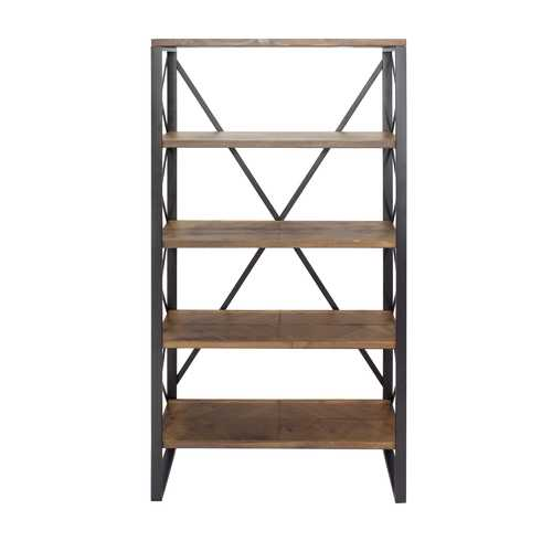 "32.75"" Natural and Orange Metal, Wood, and MDF Bookcase with 5 Shelves"