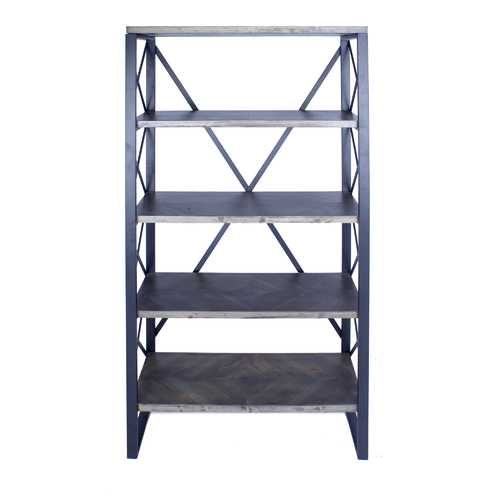 "32.75"" Natural and Grey Metal, Wood, and MDF Bookcase with 5 Shelves"