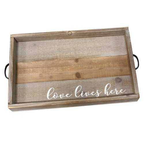 """Distressed """"Love Lives Here"""" Metal & Wood Tray"""