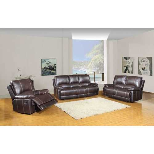 """165"""" Stylish Brown Leather Couch Set"""