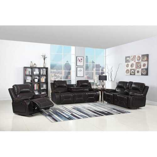 "124"" Classy Brown Leather Sofa Set"