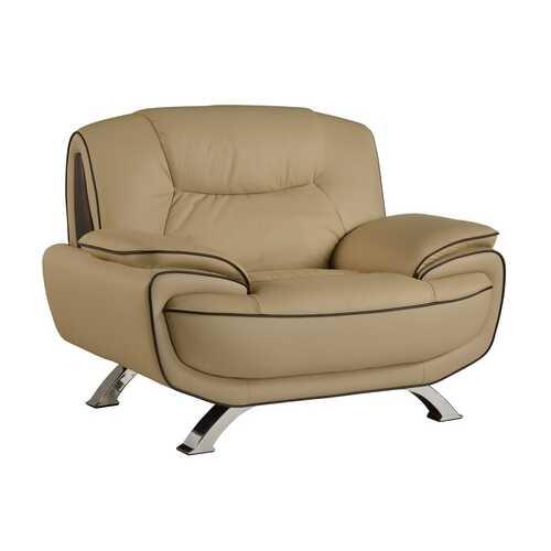 "40"" Beige Sleek Leather Recliner Chair"