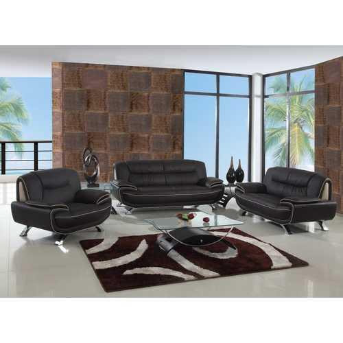 "110"" Sleek Brown Sofa Set"