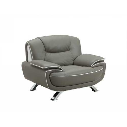 "40"" Grey Sleek Leather Recliner Chair"