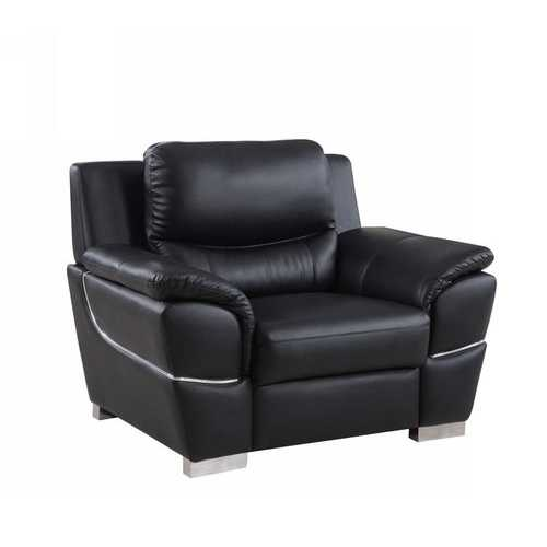 "37"" Black Chic Leather Recliner Chair"