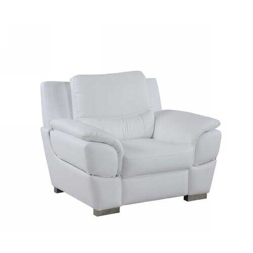 "37"" White Chic Leather Stationary Chair"