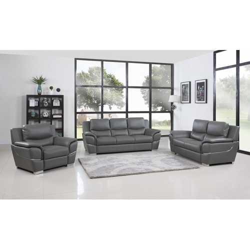 "111"" Chic Grey Leather Sofa Set"