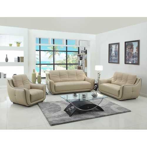"108"" Elegant Beige Leather Sofa Set"