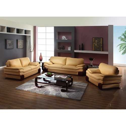 """112"""" Dazzling Brown Leather Sofa Set"""