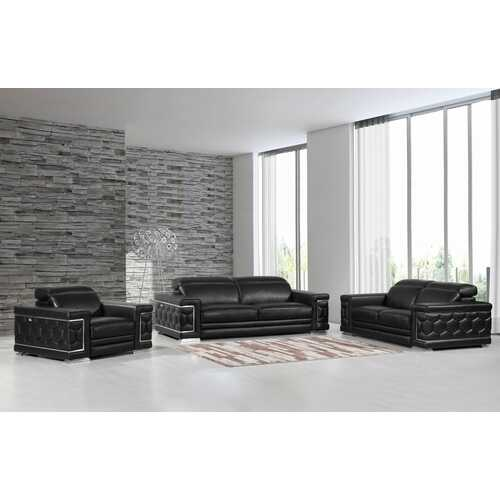 "114"" Sturdy Black Leather Sofa Set"