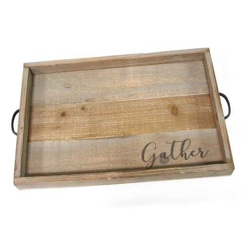 """Handcrafted Distressed """"Gather"""" Wood & Metal Tray"""