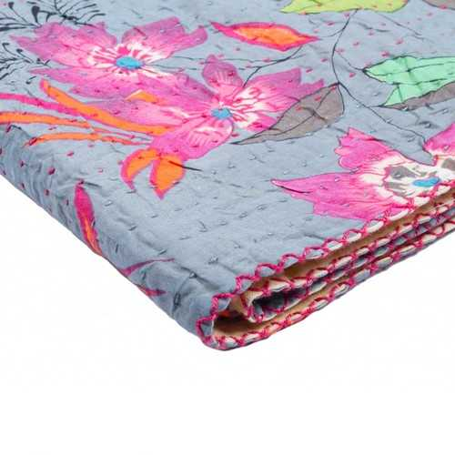 "50"" x 70"" Multicolored, Kantha Cotton - Throw"