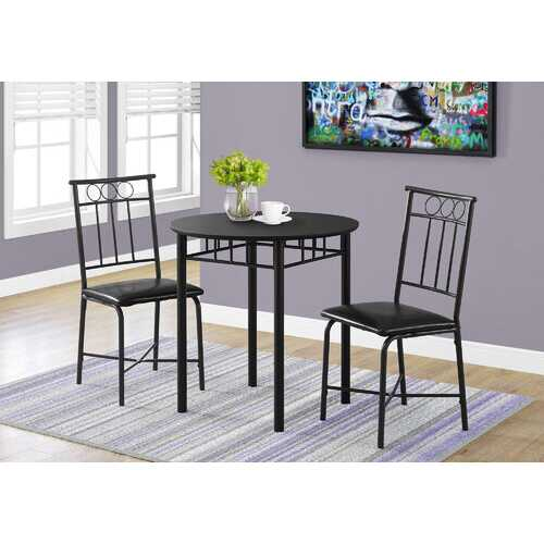 "35"" Black Leather Look Foam and Metal Three Pieces Dining Set"