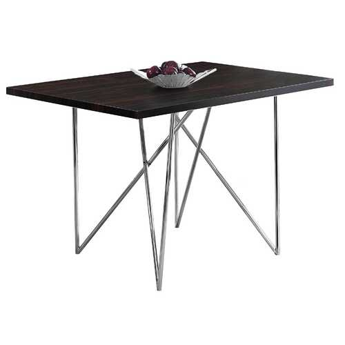 """31.5"""" x 47.5"""" x 30"""" Cappuccino, Hollow-Core, Particle Board, Metal - Dining Table"""