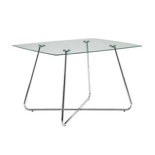 """31"""" Chrome Metal and Clear Tempered Glass Dining Table"""