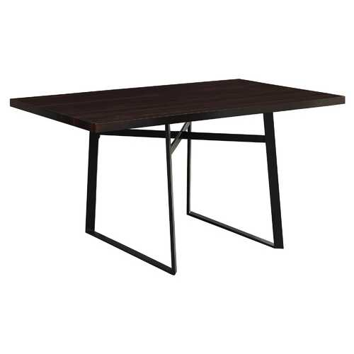 "30"" Cappuccino Particle Board, Hollow Core, And Black Metal Dining Table"