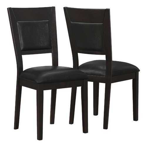 "22"" x 19"" x 39"" Cappuccino, Brown, Solid Wood, Leather-Look - Dining Chairs 2pcs"