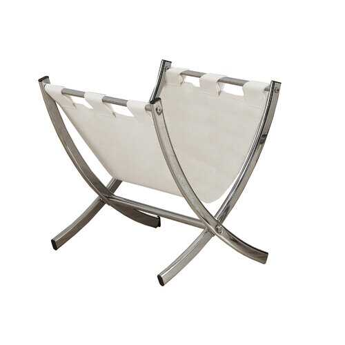 "17.75"" x 15"" x 14.5"" White, Metal - Magazine Rack"