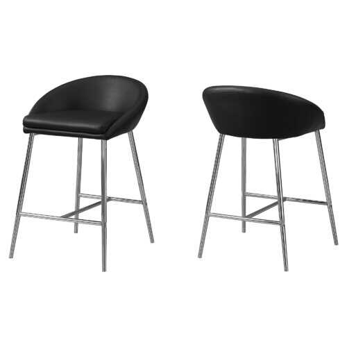 """41"""" x 41"""" x 59.5"""" Black, Foam, Metal, Leather-Look - Accent Table"""