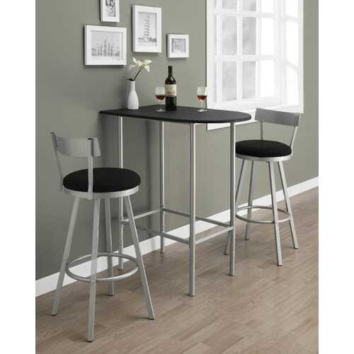 "23.75"" x 35.5"" x 41"" Black, Silver, Mdf, Metal - Home Bar"