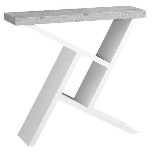 """11.5"""" x 35.5"""" x 34"""" White Grey Finish Hollow Core Accent Table"""