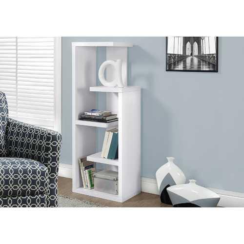 "12"" x 18.5"" x 47.25"" White, Particle Board, Hollow-Core - Bookcase"
