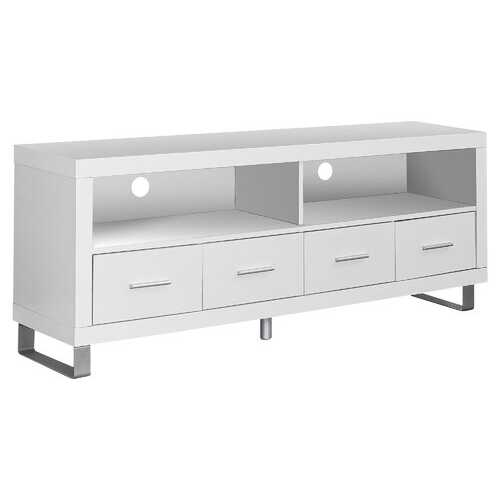 """15.75"""" x 60"""" x 23.75"""" White Silver Particle Board Hollow Core Metal TV Stand With 4 Drawers"""