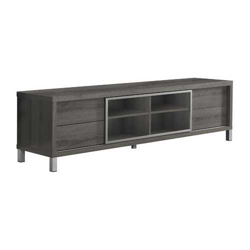 """17'.75"""" x 71"""" x 19'.75"""" Dark Taupe, Clear, Silver, Particle Board, Glass, Hollow-Core - Tv Stand"""