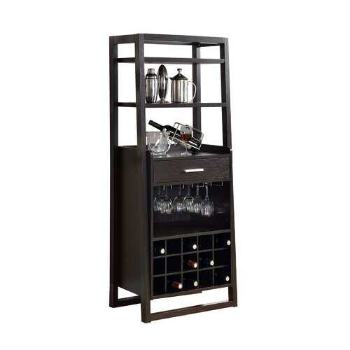 """15.75"""" x 24"""" x 60"""" Cappuccino, Particle Board, Hollow-Core - Ladder Style Home Bar"""
