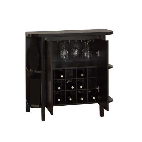 "15'.5"" x 36"" x 36"" Cappuccino, Particle Board, Hollow-Core - Glass Storage Home Bar"