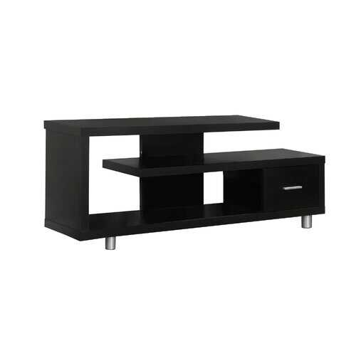 """15'.75"""" x 60"""" x 24"""" Cappuccino, Silver, Particle Board, Hollow-Core, Metal - TV Stand with a Drawer"""
