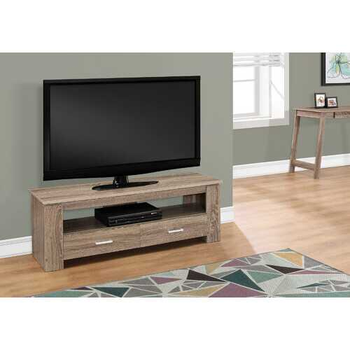 """16.25"""" Dark Taupe Particle Board and Laminate TV Stand with 2 Storage Drawers"""