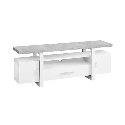 """15'.5"""" x 60"""" x 22"""" White, Grey, Particle Board, Hollow-Core - TV Stand With A Cement Look Top"""